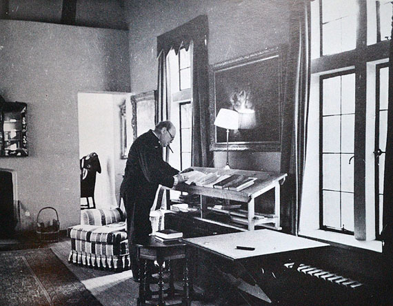 Winston Churchill at a standing desk